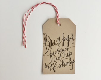 "Calligraphy ""Brown Paper Packages"" Holiday Gift Tags - Bakers Twine - pack of 8"