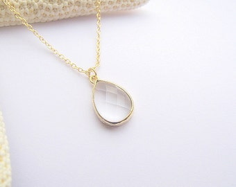 Clear Glass Pendant Necklace / Clear Teardrop Necklace / Clear Gold Necklace / Bridesmaids / Clear Drop / Bridal / Wedding