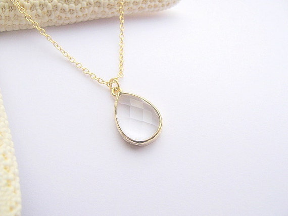 clear glass pendant necklace clear teardrop necklace clear