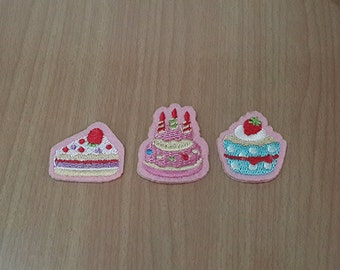 set 3 pcs. Cake Cupcake Embroidered Iron on Patch