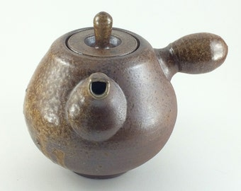 Wood Fired Handmade Stoneware Side Handled Pottery Teapot  (YCP637)
