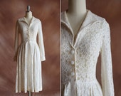 RESERVED vintage 1950's creamy white sheer lace shirtwaist collar long sleeved dress / size s