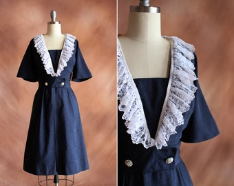 vintage 1950's navy blue silk dupioni & white lace collar cocktail dress / size s