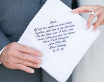 Father of the Bride Handkerchief --corner design with Wedding date White