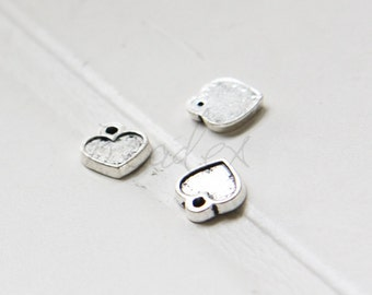 40pcs / Heart / Oxidized Silver / Base Metal / Charm / 9x9mm (X223//A43)