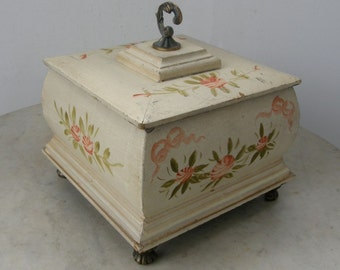 """HANDPAINTED FRENCH TEABOX Wooden 7"""" Square Hand Painted Flowers and Leaves Brass Handle & Feet Tiered Lid One of a Kind Roomy Storage"""