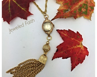 Vintage Watch Necklace Long Tassel Necklace Vintage Assemblage Necklace