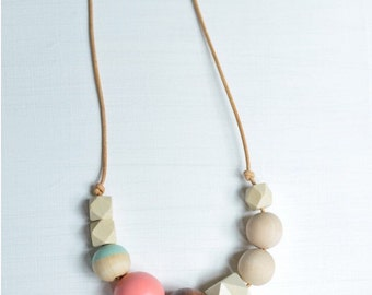 Geo Round Leather Cord Necklace