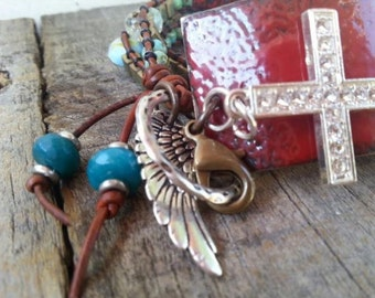 Triple Wrap Cross Bracelet, Red Enamel Cuff, Wing Charm