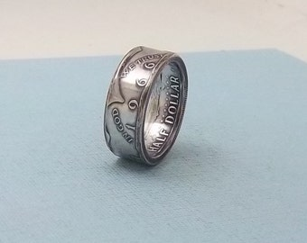 Silver coin ring 1966 Kennedy Half dollar 40% fine silver jewelry size 11