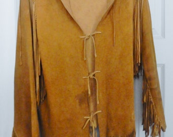 Vintage Native Tribal Buckskin Deer Warrior Shirt Primitive Fringed Hand Crafted
