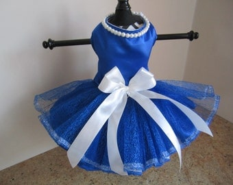 Dog Dress XS Navy  with pearls  by Nina's Couture Closet