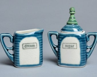 Petite Blue and Green Pawn Ceramic Cream and Sugar Set
