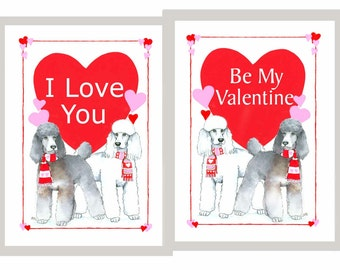 Poodle (2) White and Phantom Valentine Day Cards I love You & Be My Valentine