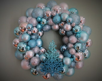 CHRISTMAS Wreath AQUA SILVER Ornament Wreath with Tree