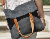 OFFER Leather bag in grey - leather tote bag - adjustable brown leather strap - MERY model