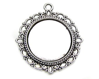 Bezels | Cabochon Settings : 10 Antique Silver 20mm Round Pendant Setting Holds 20mm Cabochon -- Lead, Nickel & Cadmium Free 15290-2.H2G