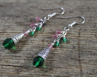 50% OFF CLEARANCE / Green, Rose Pink Swarovski Crystal Dangle Earrings / Pink and Green / Gifts for Her / Gifts for Women / Green Earrings