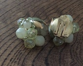 Green clip on earrings