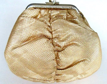 Antique Gold Fabric Lame Purse 1920s 1930s Jazz Age Gatsby Pouch