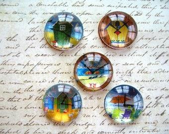Clock Round Glass Magnet, World Clock Fridge Magnet, Round Glass Magnets, Clock Decroation