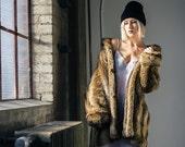 Faux Fur Coat Womens Brown Alternative Vintage Winter Coat VTG - Size M/L