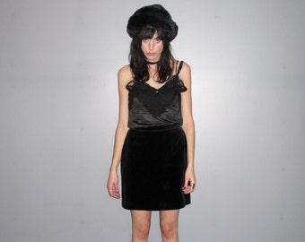 Black Velvet Skirt - 90s High Waist Pencil Skirt Mini Luxe Womens Size 27 Waist