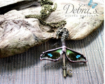 Brass Dragon Key Necklace with real Purple Spotted Swollowtail Butterfly Wings, Steampunk Jewelry, Nature Jewelry