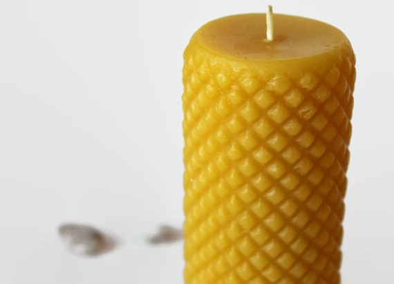 beeswax pillar candle, pure beeswax, diamond pattern - as seen on Apartment Therapy