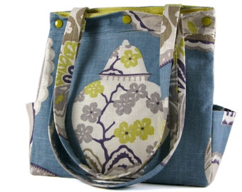 Diaper Bag Large Purse Caryall Tote in Periwinkle Blue with Multicolour Edwardian Print