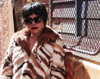 Vintage 1970's Chevron Fur Coat