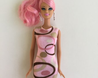 Pink & brown swirly dress for Barbie; Barbie clothes