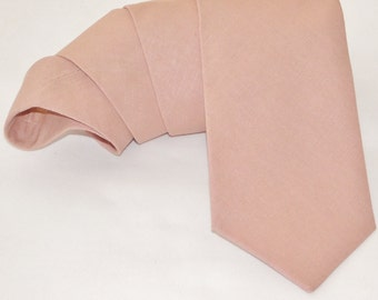 Dusty rose linen neck tie