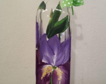 Hand painted iris liquid soap dispenser bottle, oil and vinegar bottle