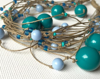 Entangled in the Blue - linen necklace