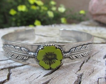 Sterling Silver Chartreuse flower and feathers Cowgirl Cuff Bracelet - Czech glass yellow green flower