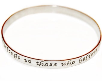 Personalized Bangle Sterling Silver Message Bracelet, custom message bangle, hand made sterling silver bangle, engraved silver bangle