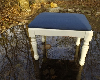 """Foot stool. Home decor.Shabby chic .Furniture. 12""""H x 15""""L x 11.5""""W .Sturdy.No holes.No stains.Dark blue clean fabric"""