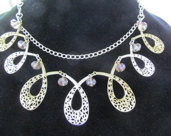 Gorgeous Gold and Silver Tone Bib Style Fashion Necklace