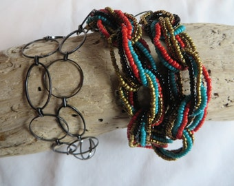 """24""""  Loopy Necklace, necklace, loops, loopy, brown, orange, turquoise"""