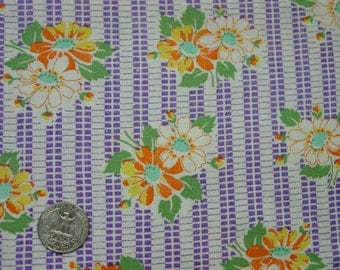 Vintage Full Feedsack,Fabric Purple Striped Background, Orange Flowers Large 37 x 42""