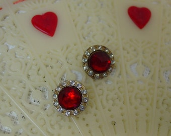 """2 Sweet Little Vintage Fancy Buttons, 9/16"""" Red and Rhinestones"""