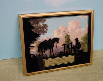 Excellent Vintage 1940's Silhouette, Advertising, Sentiment, Advertising, Western Cowboy