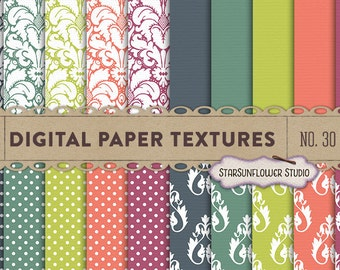 Damask & Dots Digital Scrapbook Paper Pack  No 30 - 12x12