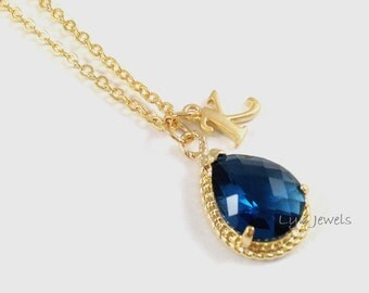 Gold Sapphire Necklace - Dark Blue Glass Teardrop Personalize Initial Necklace - Midnight Blue Bridesmaids Necklace Gift