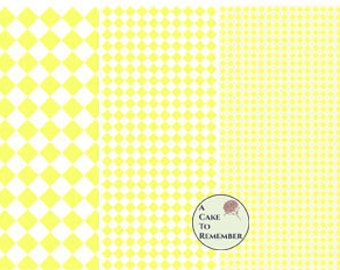 Digital download--Printable yellow diamonds wafer paper file for cake decorating or cupcake decorating