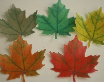 12 Wafer paper maple leaves, edible leaves for cake decorating and cupcake baking. Autumn wedding cake topper.