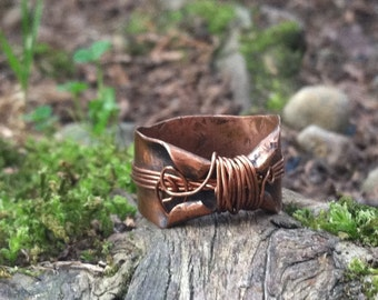 Copper, Twisted Fairy rings, Whimsical, enchanted elven band, OOAK band rustic copper ring, magical rings, elven rings, free form ring