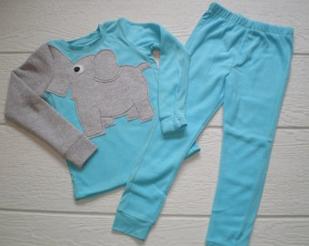 Elephant trunk sleeve 2pc microfleece thermal set, shirt & pants, pyjamas or longjohns, size girls 4T or 5T, blue fleece, toddler set