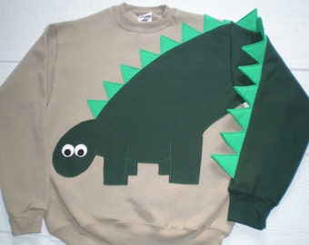 Children's applique dinosaur shirt with green dinosaur with green spikes. Size small, medium, large, dino shirt, fun shirt, SPECIAL